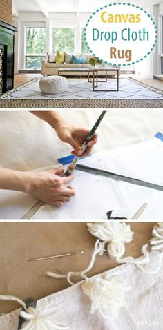 Make a rug out of a canvas drop cloth for an inexpensive but wonderful addition to your living room this winter!  Grab the details here: http://www.ehow.com/how_12000174_make-rug-canvas-drop-cloth.html?utm_source=pinterest.com&utm_medium=referral&utm_content=freestyle&utm_campaign=fanpage