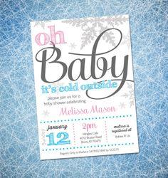 Winter Baby Shower Invitation, Gender Neutral, Winter Wonderland Theme, Oh Baby its Cold Outside, DIY, Gender Neutral