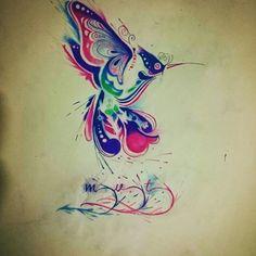 Watercolor acuarela colibrí