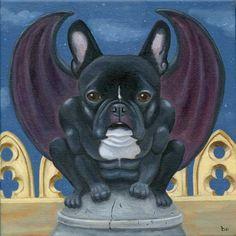 French Bulldog Frenchie Gargoyle Dog Art by rubenacker on Etsy, $18.00