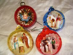 Reserved for Mairi,  Vintage Christmas Ornament Set of Four, Nativity Diorama, Jewel Brite, Holy Family, Angel, Wise Man, Shepherd. $20.10, via Etsy.