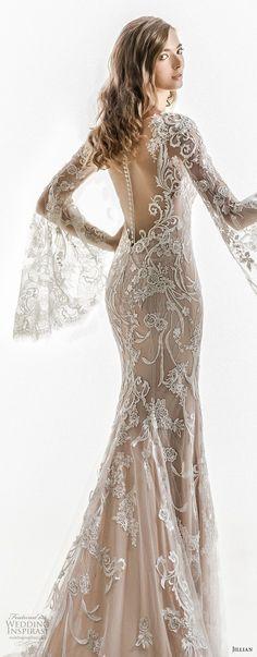 jillian 2018 bridal long bell sleeves sheer boat sweetheart neckline full embellishment elegant sheath wedding dress sheer button back chapel train (01) zbv -- Jillian 2018 Wedding Dresses