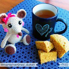 Merienda en buena compañía. Bizcochito de leche y salvados + té. Receta baja en hidratos (apta #Dukan desde Ataque o para la NUEVA dieta Dukan desde el lunes)