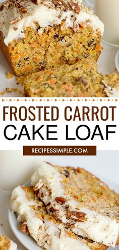 Carrot Cake Loaf Start your holiday baking with this Frosted Carrot Cake Loaf Loaded with pecans grated carrots and raisins and topped with homemade cream cheese frosting. Trifle Desserts, Party Desserts, Dessert Recipes, Hot Fudge Cake, Hot Chocolate Fudge, Single Serve Desserts, Desserts For A Crowd, Carrot Cake Loaf, Carrot Cakes