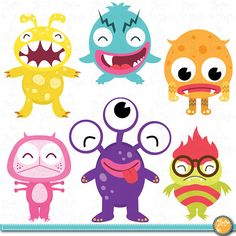 Cute Litter Monsters Clip art Set, funny monster Lcm004 Personal and Commercial Use, cards, invitations, scrapbooking and all paper crafts.
