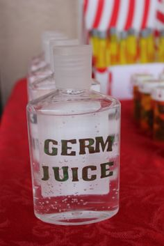 Nursing Graduation Party Ideas   The Germ Juice is hand sanitizer bought from WalMart for 88 cents ...
