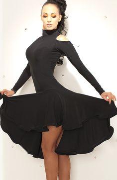 Chrisanne Funnel Neck Latin Dress with Shoulder Detail