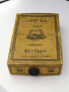 Rare Original Box of Antique Ivory Rim Cloth Center Buttons