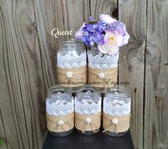 Burlap Mason jar Rustic wedding Country wedding Mason jar