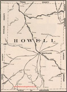 Howell County Missouri Map 1904 West Plains, Willow Springs, Mountain View, Pomona, South Fork, Moody, Brandsville, Pottersville, Peace Valley, White Church, MO