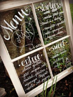 Hand Drawn Calligraphy Rustic Window Panes by CoastalCalligraphy