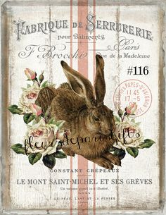 French Rustic Easter Rabbit, Easter Wreath Accent Decor Sign, Easter Card Making, Easter Pillow Transfer, Digital Print 1844 Collage Kunst, Lapin Art, Easter Pillows, Photo D Art, Bunny Art, Mont Saint Michel, Easter Bunny, Easter Card, Happy Easter