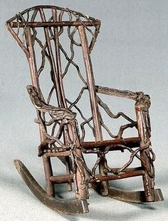 Incroyable Furniture, America, Furniture: A Folk Art Twig Rocking Chair. Bentwood And  Applied