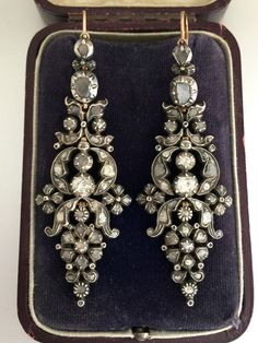 A Stunning Pair Of Georgian 6ct Rose Cut Diamond Earrings Circa 1800's