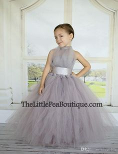 2016 Silver Flower Girls Dresses Tulle Halter Empire Tutu Formal Kids Wear For Birthday Party Ruched Sweep Train Ruffles 2015 New Grey Flower Girl Tutu, Flower Girl Dresses, Flower Girls, Robes Tutu, Tulle Dress, Tutu Dresses, Pageant Dresses, Tutus For Girls, Bridesmaid Dresses
