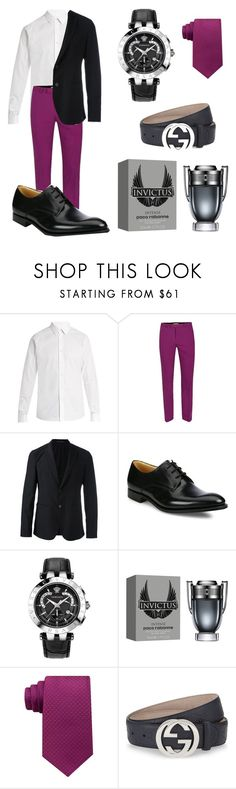 """""""Wine/Men"""" by solbustos ❤ liked on Polyvore featuring Valentino, Topman, Emporio Armani, Church's, Versace, Paco Rabanne, Calvin Klein, Gucci, men's fashion and menswear"""