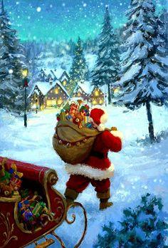 Christmas Card Images, Christmas Jesus, Snoopy Christmas, Christmas Town, Christmas Graphics, Old Fashioned Christmas, Magical Christmas, Christmas Scenes, Vintage Christmas Cards