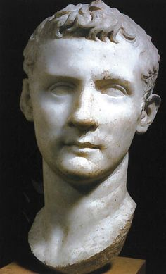 Head of Caligula, Marino, 37-41 AD, marble. Different hair style, fuller and more textured, but more cut back. Classicising like A and T. Balding according to Suetonius.