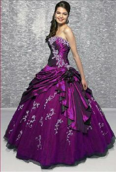 purple and Navy Blue embroidery bridal wedding dress