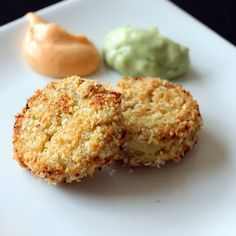 Mini crab cakes with sauce. Mmmm