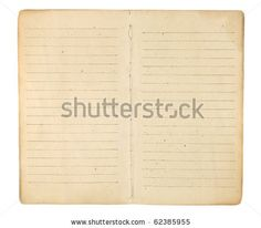 An old memo book or diary opened to reveal yellowing, blank, lined facing pages ready for images and text. Isolated on white. Includes clipp...