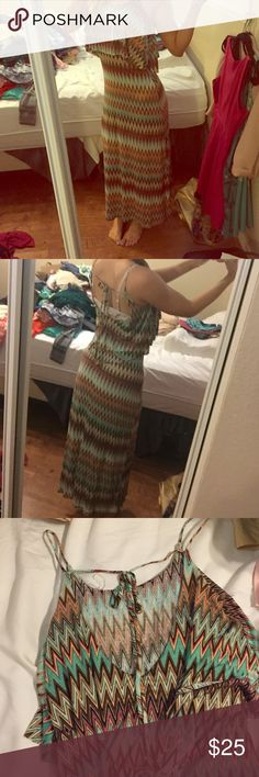 Colorful maxi dress Such a unique and pretty dress...would keep it if it wasn't too short on me! Open tie back. Layered flowy top. Excellent condition Dresses Maxi
