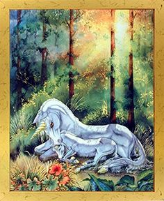 Give a new dimension to your home decor by simply adding this wonderful glades mythical unicorn horse Sue Dawe fantasy framed art poster. This fantast framed art will definitely add a unique charm to your living home set up and makes a brilliant display into your home. This stunning piece of art works wonderfully in any room of your home and looks great as a part of your home. The wooden golden frame of this poster will beautifully highlight the print of the poster.