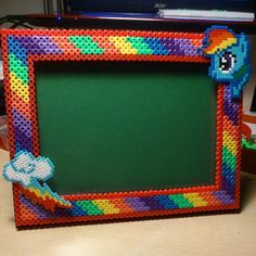 MLP Rainbow Dash picture frame hama beads by hamalovers