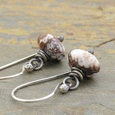 Gemstone Earrings Brown and White Wild Horse by CarolBradley