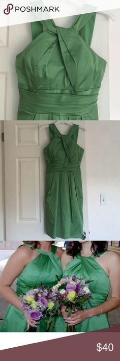 Short cotton dress style 83690BN dress Knee length dress with Y-Neck and pleated skirt. Cotton w a silky feel. One of my faves! Actually wore this bridesmaid dress a few times. Very comfortable and has pockets! Good condition. Has cups inserted so need to wear a bra ;) beautiful bright green color! Nice cocktail dress also. Feel free to make a reasonable offer. Not sure what's reasonable? Check out the chart at the top of my closet ☺️ David's Bridal Dresses Midi