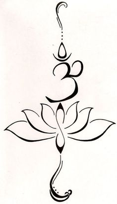 A lotus to represent a new beginning, or a hard time in life that has been overcome and the symbol Hum from the Buddhist mantra to stand for love, kindness and protection...this symbol is also said to purify hatred and anger.