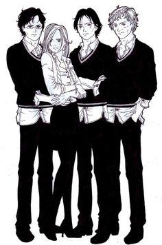 The Marauder's Era, James, Lily, Sirius, and Lupin.