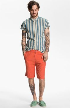 Men: Obey Shirt & 7 For All Mankind Shorts.
