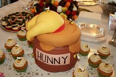 """In contrast to the """"dead baby cake"""", I had to pin this as my favorite cake ever!  :-) Winnie Pooh Torte, Winnie The Pooh Birthday, Baby Shower Cupcakes, Shower Cakes, Bee Cupcakes, Cupcake Cakes, First Birthday Cakes, Bear Birthday, Baby 1st Birthday"""