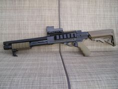 Remington 870 with Mesa Tactical High Tube Stock Adapter (available for Mossberg… Mesa Tactical, Tactical Shotgun, Tactical Gear, Rifles, Fire Powers, Home Defense, Cool Guns, Firearms, Shotguns