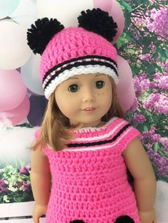Crochet Pattern Doll Pink Panda Outfit – Adoring Doll Cl… – Arts and Crafts Crochet Doll Dress, Crochet Doll Clothes, Crochet Doll Pattern, Doll Clothes Patterns, Crochet Patterns, Doll Patterns, Crochet Ideas, Crochet Projects, Crochet Designs