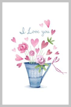 Victoria Nelson - Valentines Blue Pink Peonies No Frame Valentines Watercolor, Watercolor Cards, Watercolor Illustration, Watercolour, Floral Illustrations, Pink Peonies, Yellow Roses, Pink Roses, Heart Art
