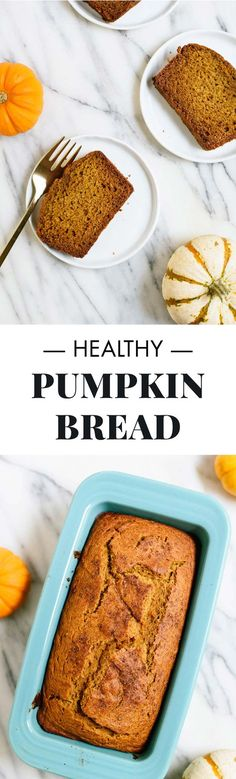 This healthy pumpkin bread recipe is the BEST! It's made with whole grains, maple syrup or honey, and coconut oil, but no one will ever guess.