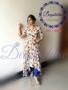 Beautiful cream color asymmetric with flamingo bird print. Kalamkari Designs, Churidar Designs, Lehenga Designs, Kalamkari Dresses, Kalamkari Kurta, Indian Dresses, Indian Outfits, Salwar Pattern, Anarkali Dress