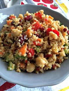 This quinoa salad with dried cranberries and almonds is a delicious combination as well as packed full of nutritious ingredients.