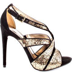 Black & Gold Glitter Heels - i'm in love