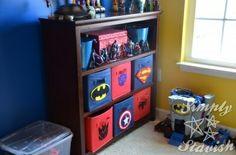 Target canvas bins with DIY superhero felt symbols, superman, batman, captain america, spiderman, autobot and decepticon