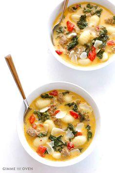 Cremige Gnocchi-Suppe mit Grünkohl und scharfer italienischer Wurst