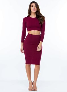 All Lined Up Ribbed Pencil Skirt