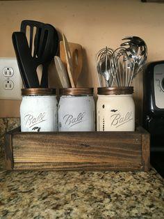 Kitchen Utensil holder kitchen organizer mason jar by DandEcustom