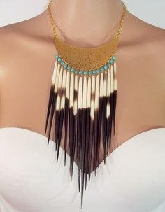 Taxidermy Tribal Necklace African Porcupine by AlluringYouJewelry, $122.79