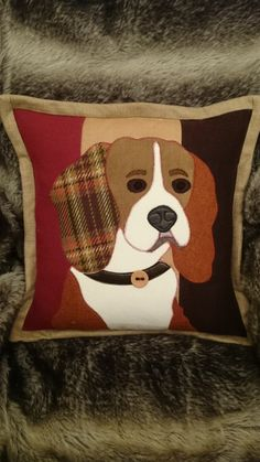 Handsome Beagle cushion. Handmade applique by weaselsworkshop