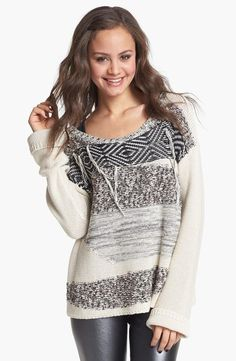Cute n' cozy in a patterned knit sweater.