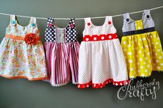 Itty Bitty Handmade Baby Dresses by Stubbornly Crafty-- no pattern, but cute ideas.  She gives the name of the pattern she used.