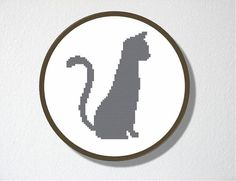 Counted Cross stitch Pattern PDF. Instant download. Cat Silhouette. Includes easy beginner instructions.